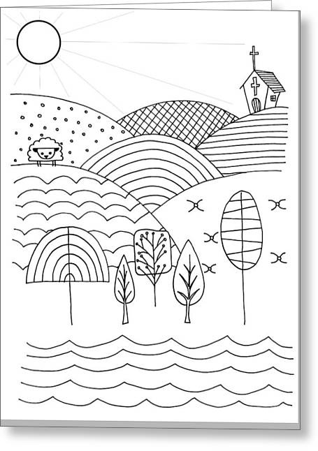 Hand Drawn Cartoon Style Doodle Illustration Of Counrtryside Lan Greeting Card by Matthew Gibson