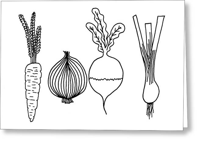Hand Drawn Sketch Illustration Of Various Vegetables Greeting Card by Matthew Gibson