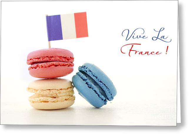 Juillet Greeting Cards - Happy Bastille Day Party Macarons Greeting Card by Milleflore Images