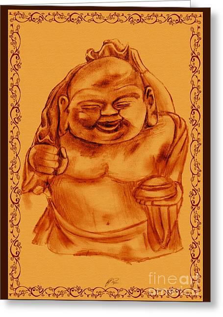 Happy Buddha Greeting Card by RJ Roskom