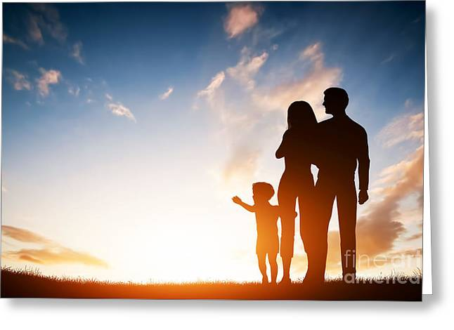 Caring Mother Greeting Cards - Happy family together at sunset Greeting Card by Michal Bednarek