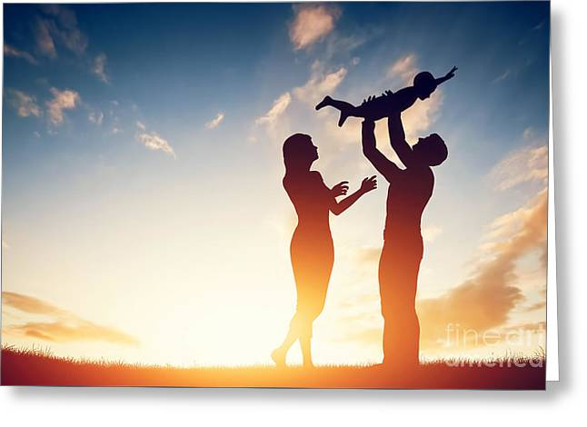 Caring Mother Greeting Cards - Happy family together Greeting Card by Michal Bednarek