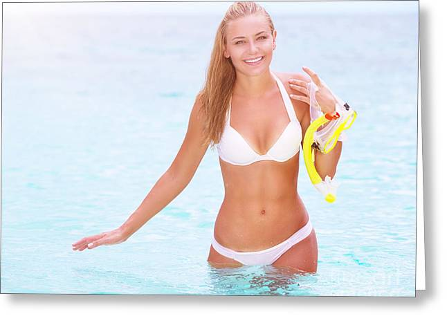 Snorkel Greeting Cards - Happy female enjoying beach activities Greeting Card by Anna Omelchenko