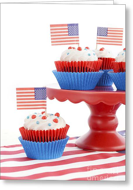 Independance Day Greeting Cards - Happy Fourth of July Cupcakes on Red Stand Greeting Card by Milleflore Images