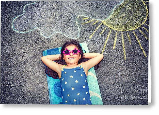 Person Greeting Cards - Happy little girl outdoors Greeting Card by Anna Omelchenko