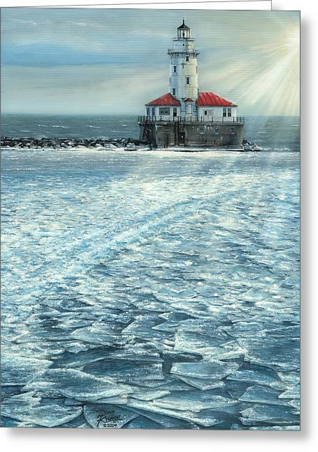 Sun Rays Paintings Greeting Cards - Harbor Light Greeting Card by Doug Kreuger