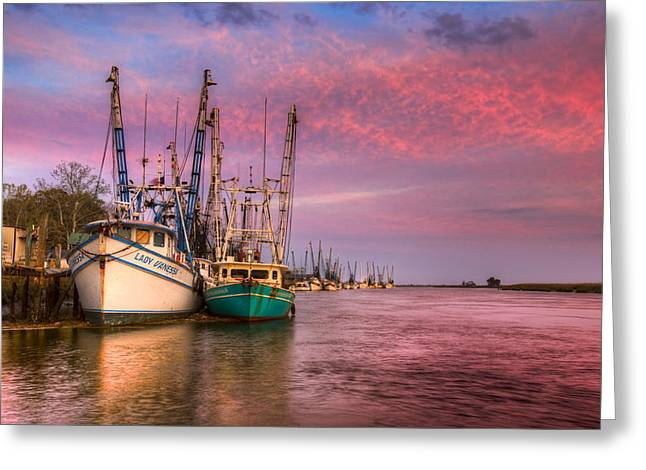 Boats At Dock Greeting Cards - Harbor Sunset Greeting Card by Debra and Dave Vanderlaan