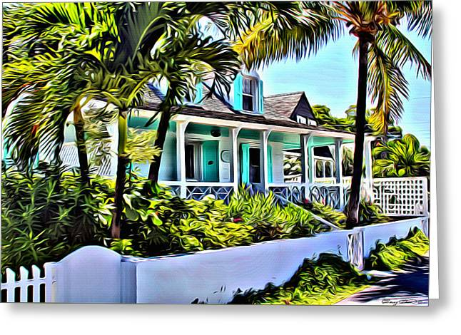 Bamboo Fence Digital Greeting Cards - Harbour Island Home Greeting Card by Anthony C Chen