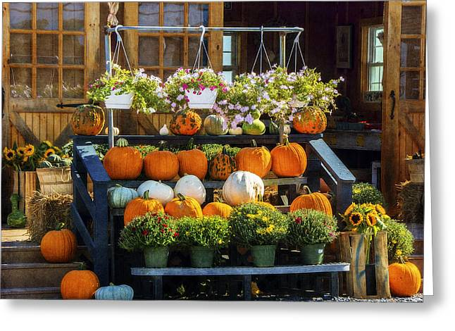 Farm Stand Greeting Cards - Harvest Time Greeting Card by Cathy Kovarik