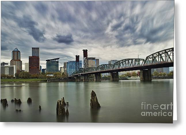Grey Clouds Greeting Cards - Hawthorne Bridge Across The Willamette Portland Oregon  Greeting Card by Peter Dang