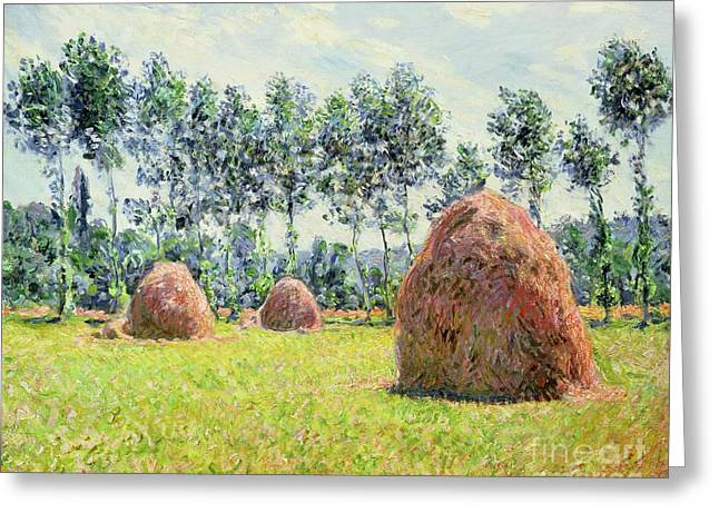 Impressionist Greeting Cards - Haystacks at Giverny Greeting Card by Claude Monet