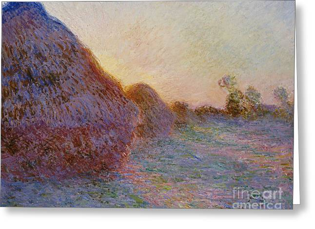 French Countryside Greeting Cards - Haystacks Greeting Card by Claude Monet