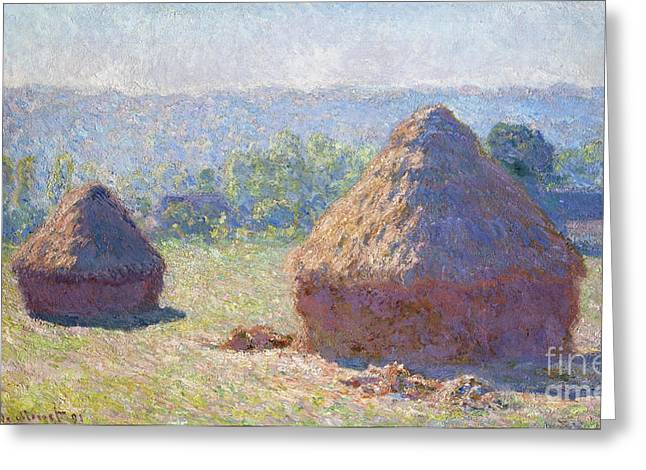 Vintage Painter Greeting Cards - Haystacks - end of Summer Greeting Card by Claude Monet