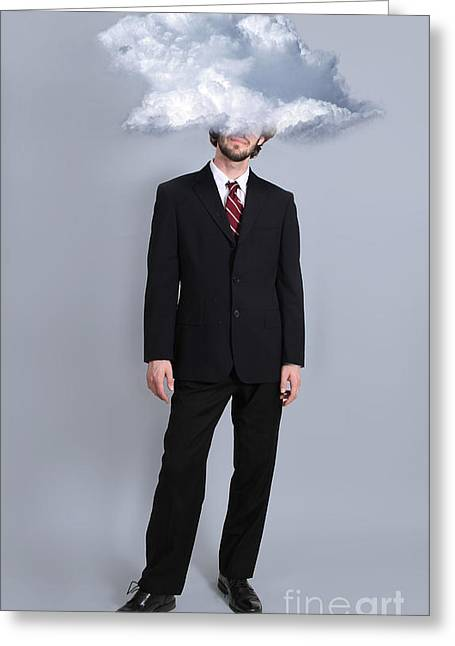 Fanciful Expression Greeting Cards - Head in the Clouds Greeting Card by Robin Treadwell