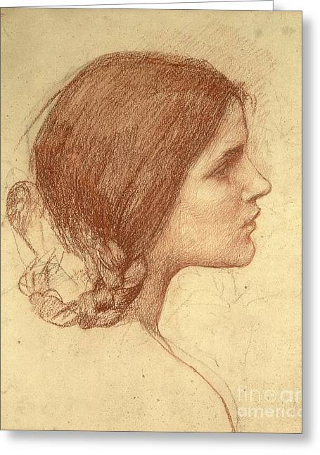 Girl Face Greeting Cards - Head of a Girl Greeting Card by John William Waterhouse