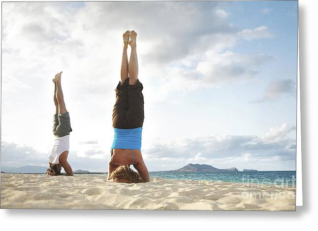 Skinny Greeting Cards - Headstand on Beach Greeting Card by Brandon Tabiolo - Printscapes