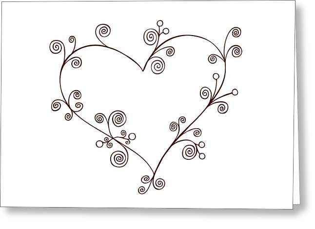 Swooshes Greeting Cards - Heart Greeting Card by Frank Tschakert