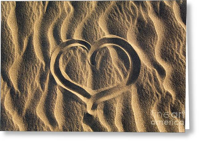 Serenity Scenes Greeting Cards - Heart on sand Greeting Card by Kati Molin