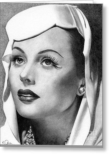 Hedy Greeting Cards - Hedy Lamarr Greeting Card by Karen  Townsend
