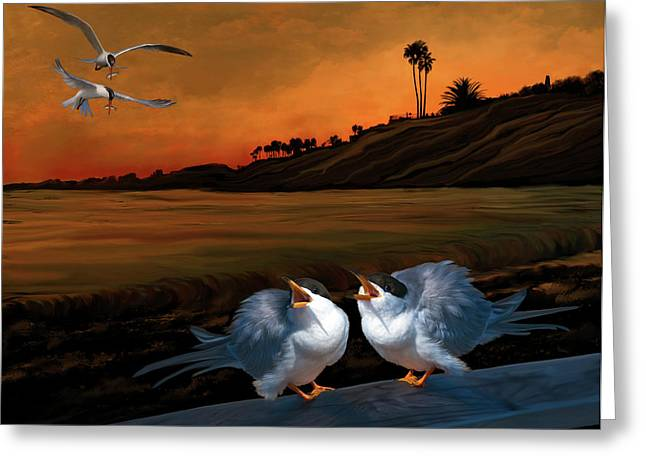 Tern Digital Art Greeting Cards - Here comes dinner Greeting Card by Thanh Thuy Nguyen
