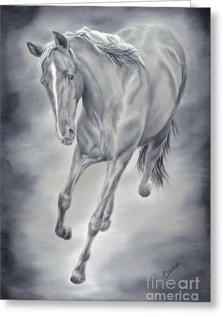 Wild Horses Greeting Cards - Here She Comes Greeting Card by Cathy Cleveland