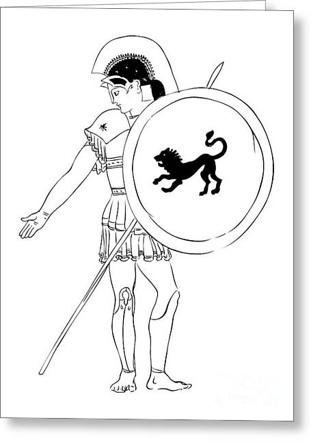 Hand Drawn Greeting Cards - hero - warrior of ancient Greece Greeting Card by Michal Boubin