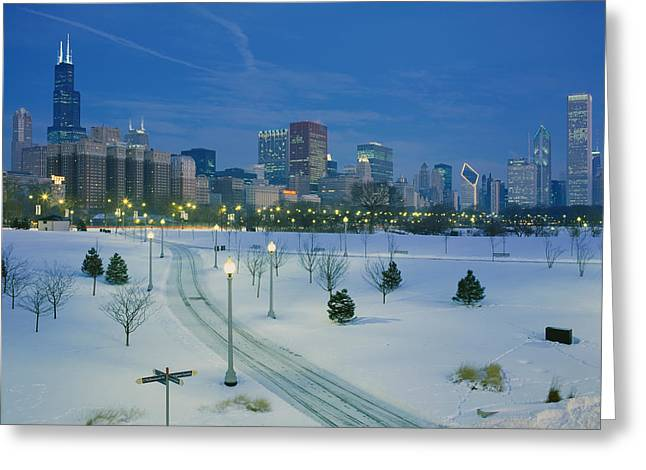 Snow-covered Landscape Photographs Greeting Cards - High Angle View Of Snow Covered Greeting Card by Panoramic Images