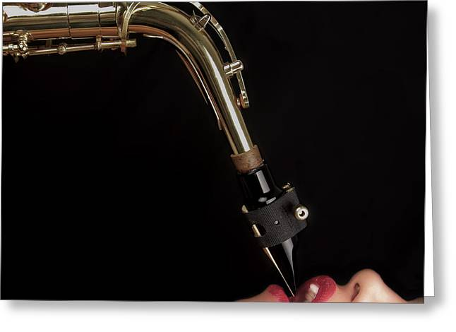 Saxaphone Greeting Cards - High Note Greeting Card by Mark H Roberts