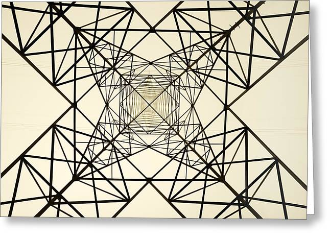 Electric Current Greeting Cards - High voltage electric tower Greeting Card by Mikel Martinez de Osaba
