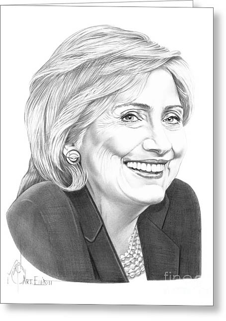 Hillary Clinton Greeting Cards - Hillary Clinton Greeting Card by Murphy Elliott