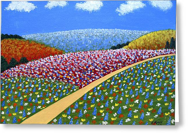 Hills Of Flowers Greeting Card by Frederic Kohli