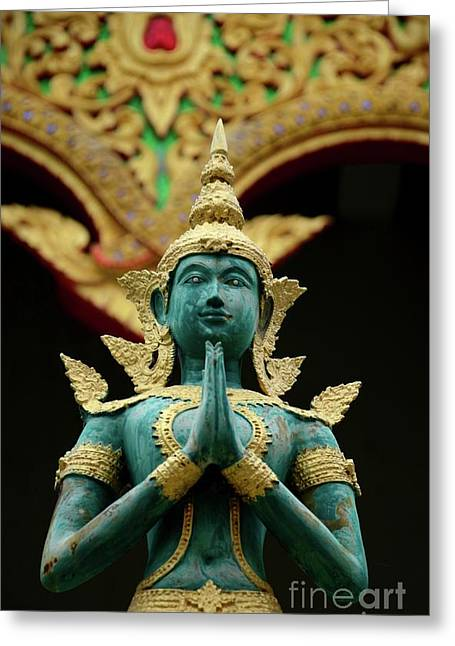 Hindu Deity Greets At Buddhist Temple Chiang Mai Thailand Greeting Card by Imran Ahmed
