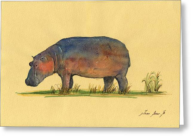 Hippo Watercolor Painting  Greeting Card by Juan  Bosco