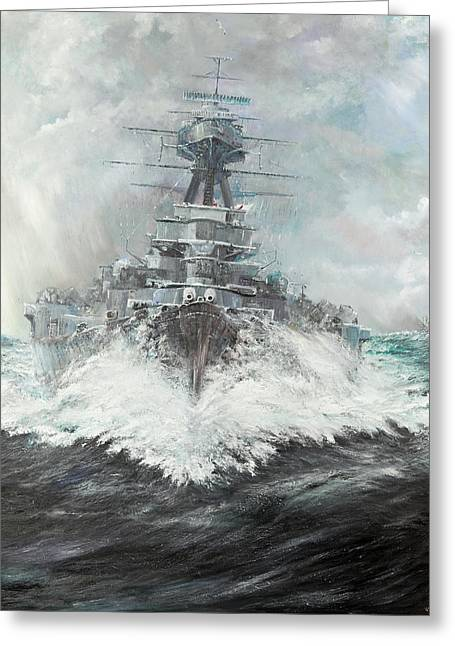 Hms Hood Greeting Card by Vincent Alexander Booth