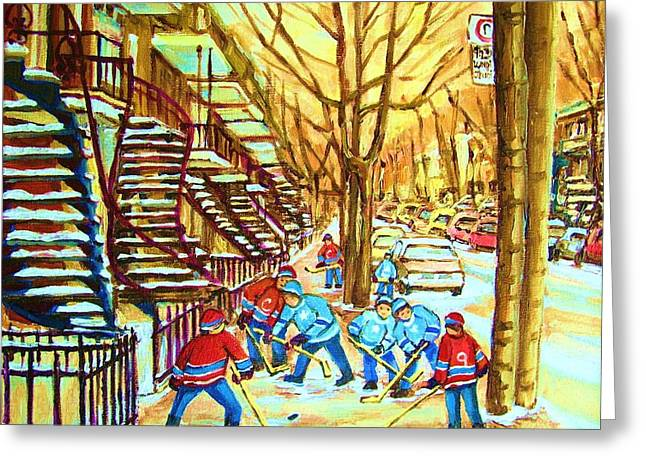 Montreal Winter Scenes Paintings Greeting Cards - Hockey Game near Winding Staircases Greeting Card by Carole Spandau