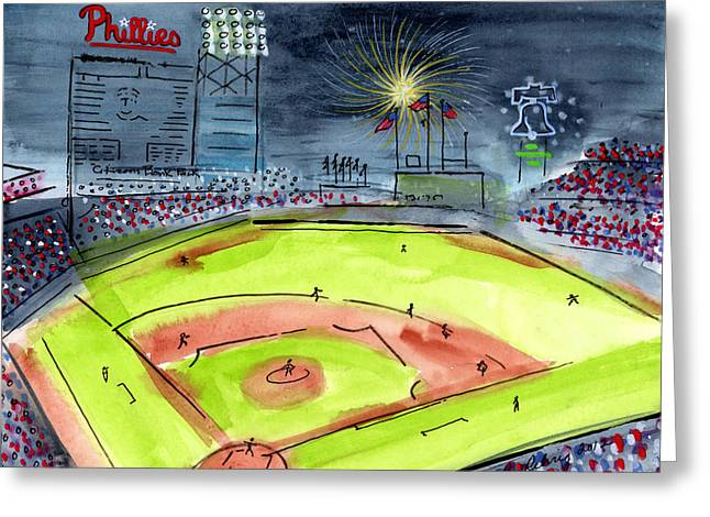 Citizens Bank Park. Paintings Greeting Cards - Home of the Philadelphia Phillies Greeting Card by Jeanne Rehrig