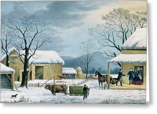Homecoming Greeting Cards - Home to Thanksgiving Greeting Card by Currier and Ives