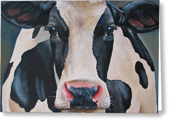 Cow Paintings Greeting Cards - Honey Greeting Card by Laura Carey