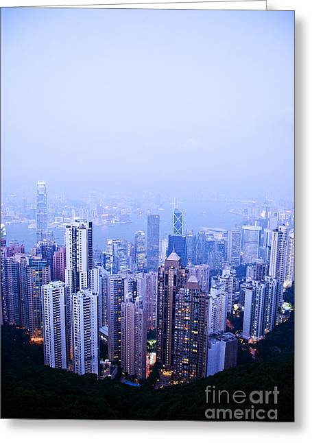 Hong Kong Skyline Greeting Card by Ray Laskowitz - Printscapes