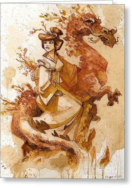 Dragon Greeting Cards - Honor and Grace Greeting Card by Brian Kesinger