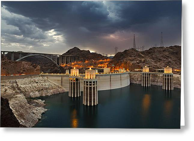 River View Greeting Cards - Hoover Dam Greeting Card by Jonas Wingfield