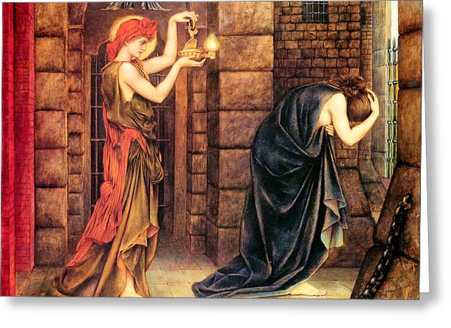 Dungeons Paintings Greeting Cards - Hope In The Prison Of Despair Greeting Card by Evelyn de Morgan