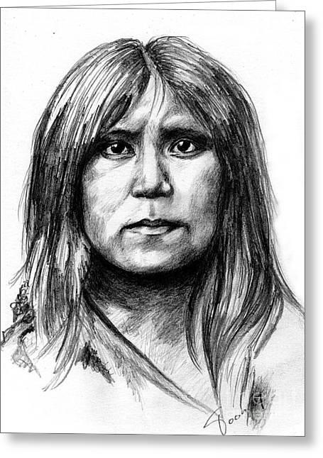 Hopi Drawings Greeting Cards - Hopi girl Greeting Card by Toon De Zwart