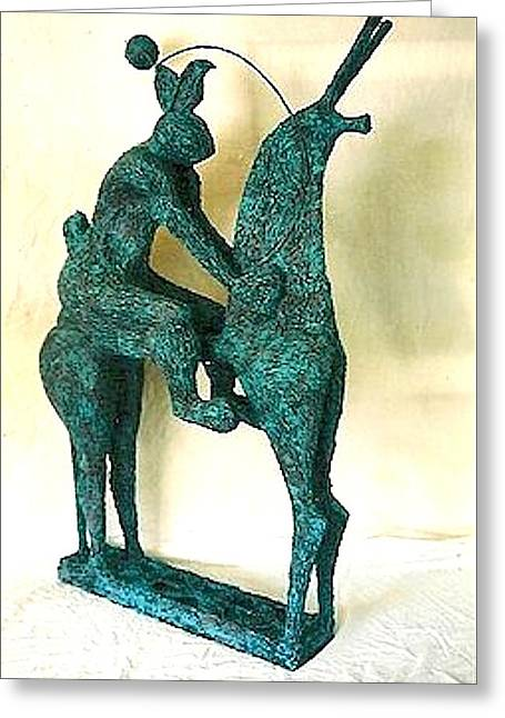 Plane Sculptures Greeting Cards - Horse and Hare Greeting Card by Al Goldfarb