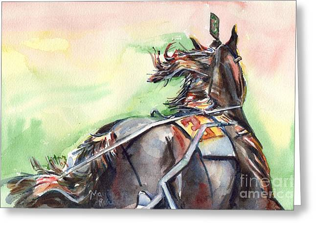 Harness Racing Greeting Cards - Horse Art In Watercolor Greeting Card by Maria
