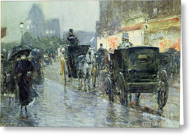 Traffic Greeting Cards - Horse Drawn Cabs at Evening in New York Greeting Card by Childe Hassam