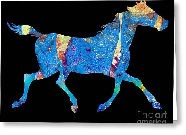 Printmaking Greeting Cards - Horse Greeting Card by Laura L Leatherwood
