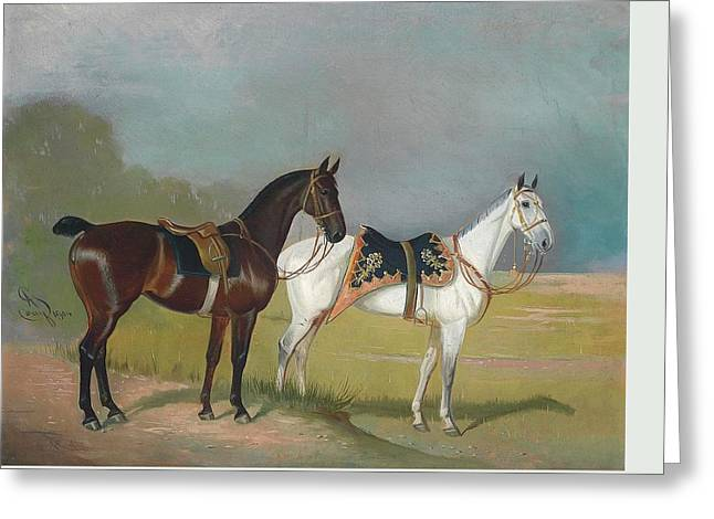 1874 Greeting Cards - Horses Greeting Card by MotionAge Designs