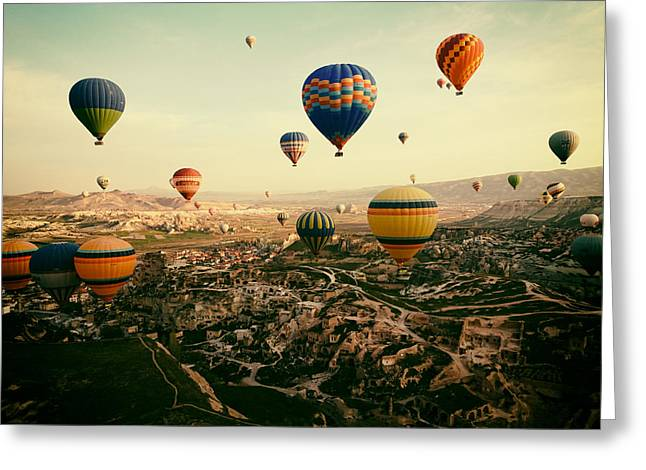 Morning Race Greeting Cards - Hot Air Balloons Over Cappadocia Greeting Card by Trudi90