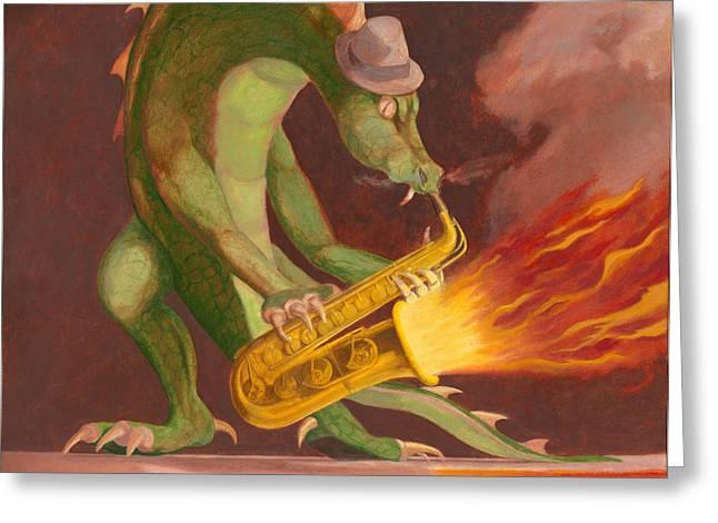 Leonard Filgate Greeting Cards - Hot Sax Greeting Card by Leonard Filgate